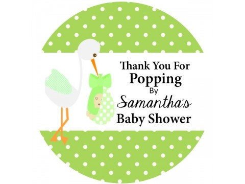 "Thank You For Popping By - Stork w/ Green Polka Dots Background - 2"" round glossy"