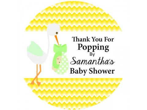 "Thank You For Popping By - Stork w/ Yellow Chevron Background - 2"" round glossy"