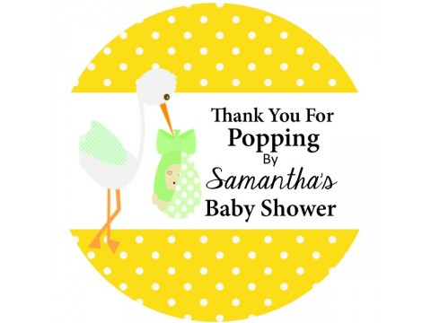 "Thank You For Popping By - Stork w/ Yellow Polka Dots Background - 2"" round glossy"