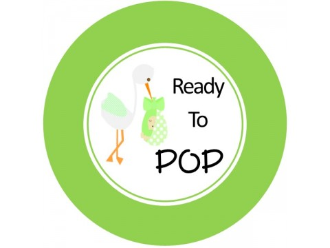 "Ready To Pop - Stork w/ Green Circle - 2"" round glossy"
