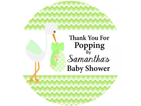 "Thank You For Popping By - Stork w/ Green Chevron Background - 2"" round glossy"