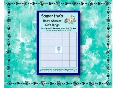 Baby Shower Gift Bingo - Game Cards - Blue
