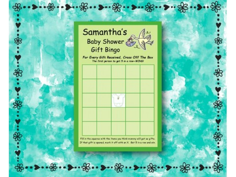 Baby Shower Gift Bingo - Game Cards - Green