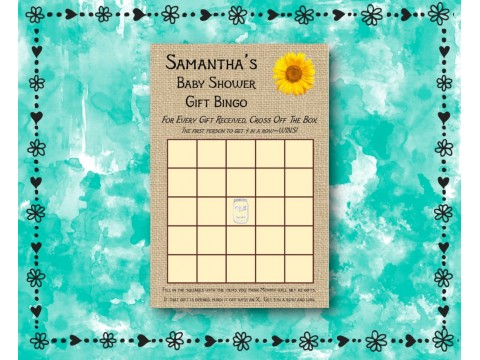 Baby Shower Gift Bingo - Game Cards - Sunflower