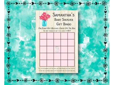 Baby Shower Gift Bingo - Game Cards - Pink Flower