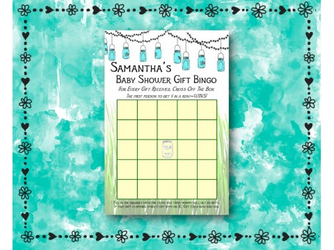 Baby Shower Gift Bingo - Game Cards - Mason Jars