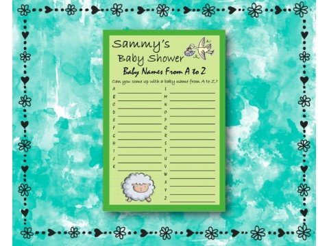 Baby Shower Name Game - Green