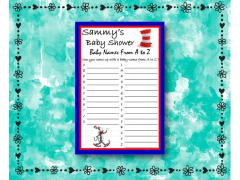 Baby Shower Name Game - Dr. Seuss