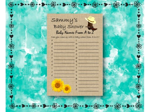 Baby Shower Name Game - Sunflower