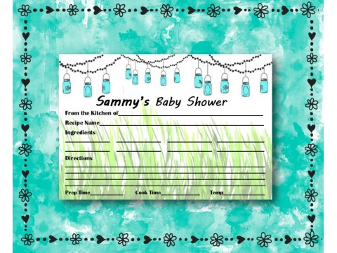 Baby Shower Recipe Cards - Game Cards - Mason Jars