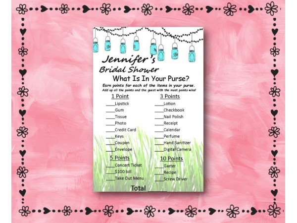whats in your purse bridal shower game mason jars