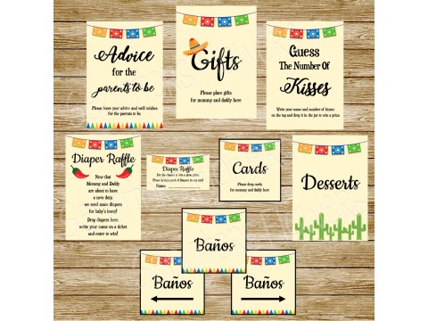 "Fiesta Baby Shower Printable Signs, 5"" x 7"" & 8"" x 10"", Guess The Kisses, Advice, Gifts, Desserts, Diaper Raffle, Cards, Baños"