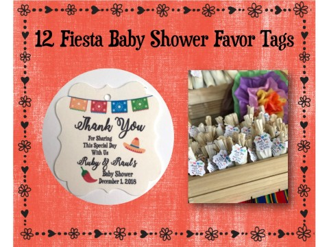"Fiesta Baby Shower Favor Tags - 2"" Squared Flourish"
