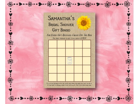 Bridal Shower Gift Bingo - Game Cards - Sunflower