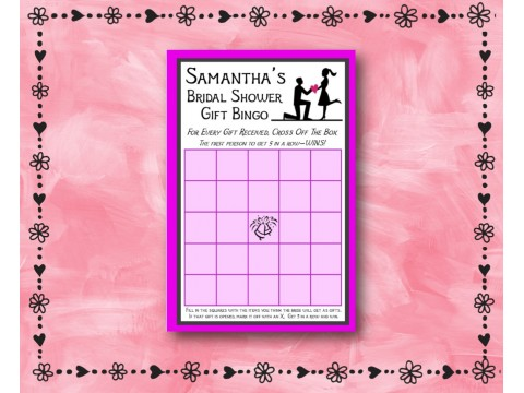 Bridal Shower Gift Bingo - Game Cards - Purple & Charcoal Borders