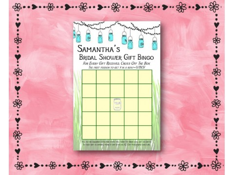 Bridal Shower Gift Bingo - Game Cards - Mason Jars