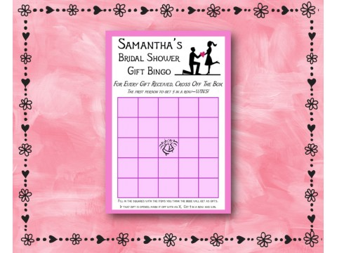 Bridal Shower Gift Bingo - Game Cards - White w/ Pink Border