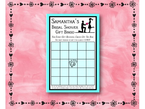 Bridal Shower Gift Bingo - Game Cards - Aqua Border