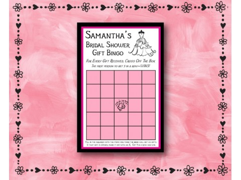Bridal Shower Gift Bingo - Game Cards - Pink & Black Borders