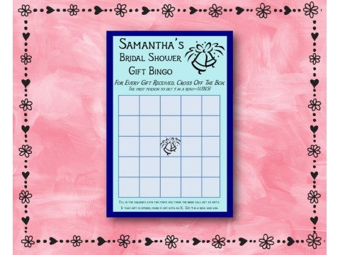 Bridal Shower Gift Bingo - Game Cards - Blue