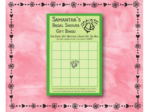 Bridal Shower Gift Bingo - Game Cards - Green