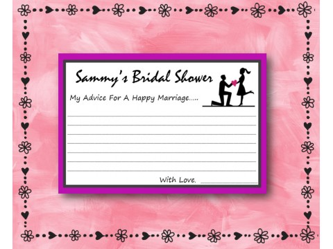 Bridal Shower Wishes - Game Cards - Purple Border