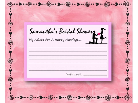 Bridal Shower Wishes - Game Cards - Pink w/ Pink Border