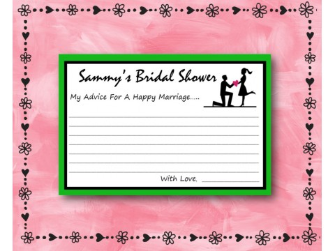 Bridal Shower Wishes - Game Cards - Green