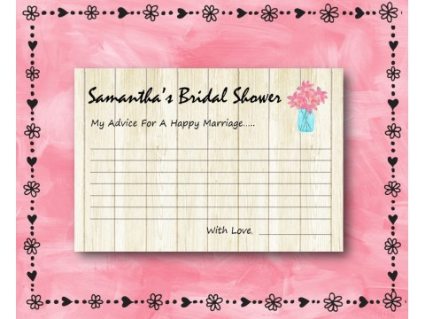 Bridal Shower Wishes - Game Cards - Pink Flower