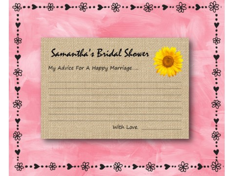 Bridal Shower Wishes - Game Cards - Sunflower