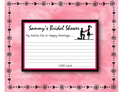 Bridal Shower Wishes - Game Cards - Pink & Charcoal Borders
