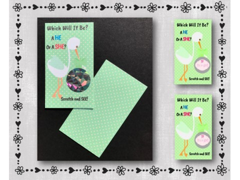 It's A Girl - Gender Reveal Scratcher Cards - Stork - Green Background