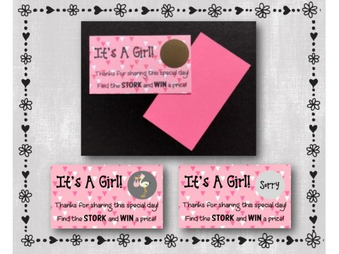 Baby Shower Scratch Off Card Game - Pink & White Triangles