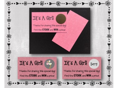 Baby Shower Scratch Off Card Game - Pink Burlap