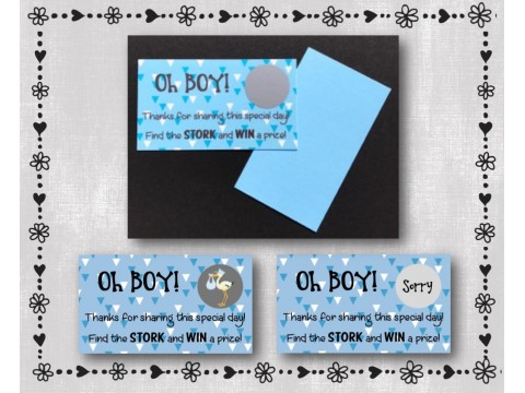 Baby Shower Scratch Off Card Game - Blue & White Triangles