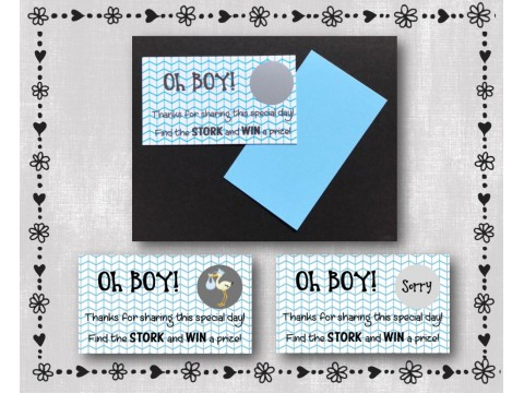 Baby Shower Scratch Off Card Game - Blue Large Herringbone