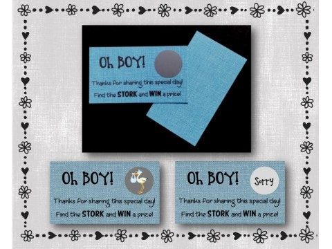Baby Shower Scratch Off Card Game - Blue Burlap