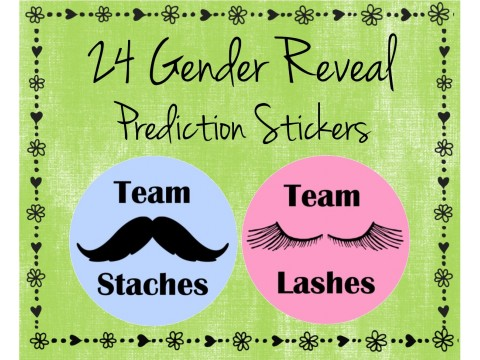 Team Staches / Team Lashes - Gender Reveal Prediction Labels - Gender Reveal Baby Shower