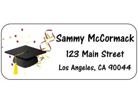 2019 Grad Address Labels  - Cap w/ Confetti