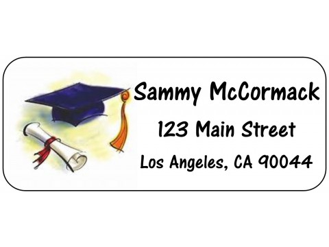 2019 Grad Address Labels  - Watercolor Cap