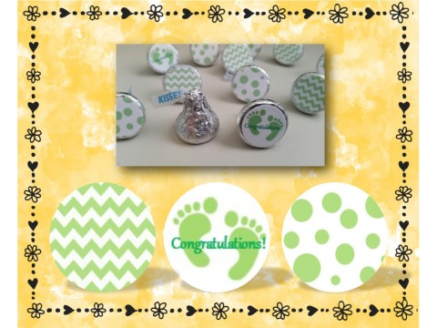 "Congratulations! - Hershey Kisses Labels ( .75"" round ) - Chevron & Polka Dot"