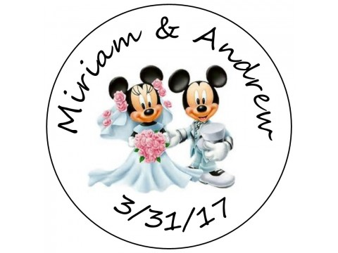 Hershey Kisses Labels - Bridal Shower & Wedding ( .75 round ) Mickey & Minnie