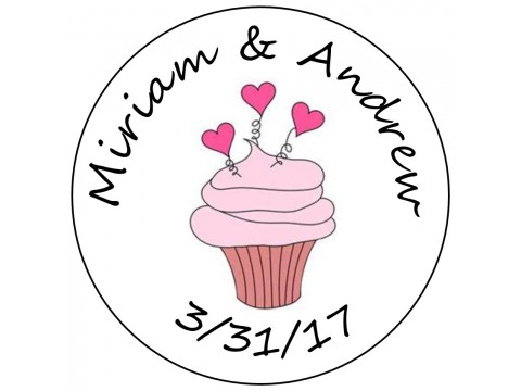 Hershey Kisses Labels - Bridal Shower & Wedding ( .75 round ) Cupcake