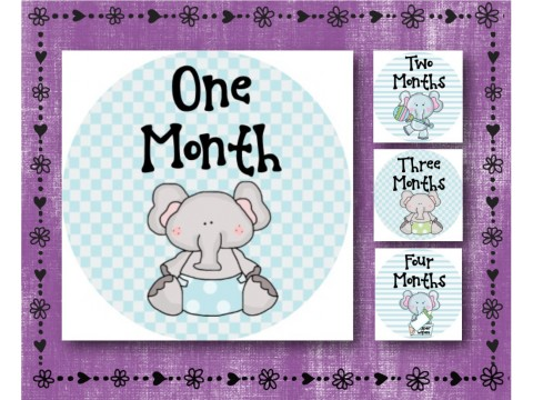 "Baby Milestone Stickers - Months 1-12 - Photo Prop Stickers - Blue Baby Elephant - 2.5"" round glossy"