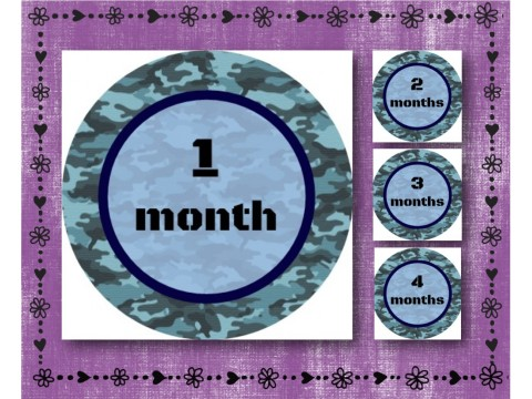 "Baby Milestone Stickers - Months 1-12 - Photo Prop Stickers - Blue Camouflage - 2.5"" round glossy"