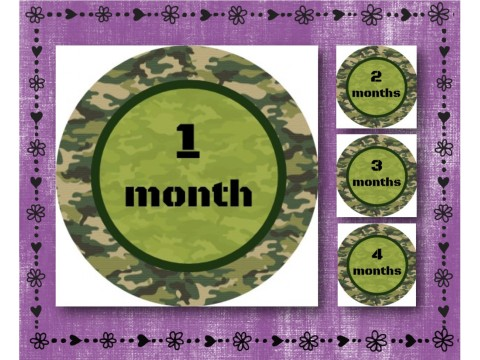 "Baby Milestone Stickers - Months 1-12 - Photo Prop Stickers - Green Camouflage - 2.5"" round glossy"