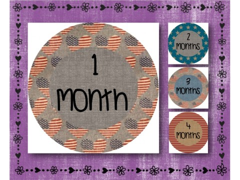 "Baby Milestone Stickers - Months 1-12 - Photo Prop Stickers - Patriotic Burlap - 2.5"" round glossy"