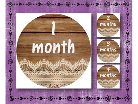 "Baby Milestone Stickers - Months 1-12 - Photo Prop Stickers - Wood w/ Lace - 2.5"" round glossy"
