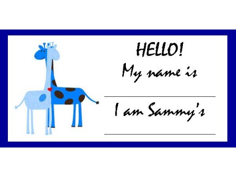 Baby Shower Name Tags - Blue Giraffes w/ Blue Border
