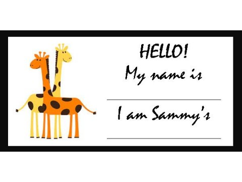 Baby Shower Name Tags - Orange & Yellow Giraffes w/ Black Border